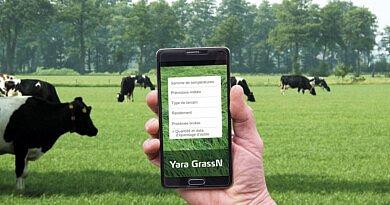 Des conseils de fertilisation pour chaque parcelle avec l'application Yara GrassN